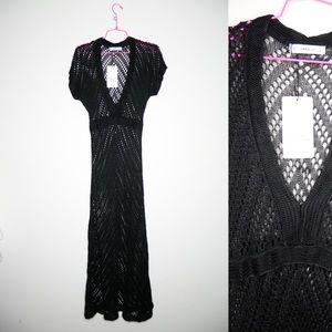 Zara knit black shirt sleeve maxi dress NWT